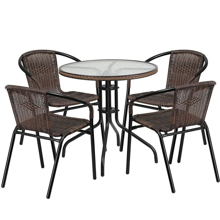 Outdoor Table And Chairs Rattan Stackable Metal Glass Patio Furniture 5 Piece #FlashFurniture