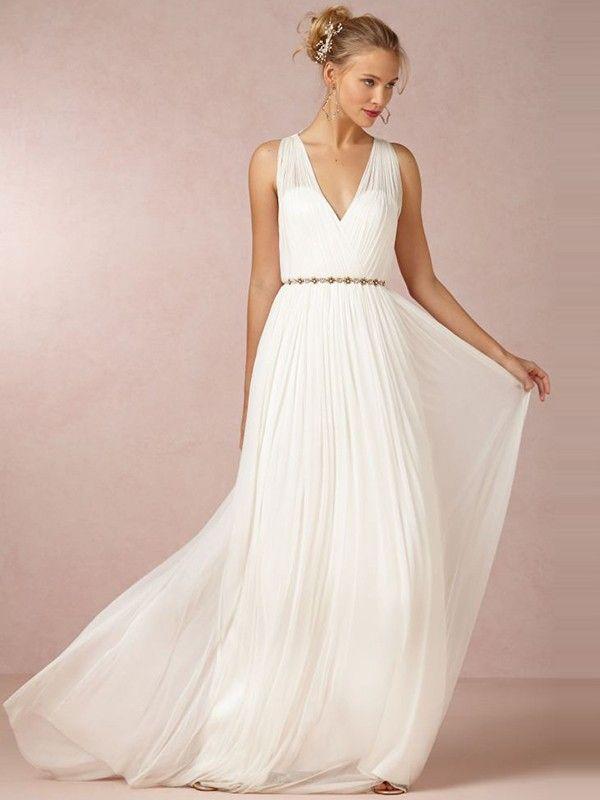 A-Linie V-Ausschnitt Pinsel Chiffon Hochzeitskleid mit Perlen