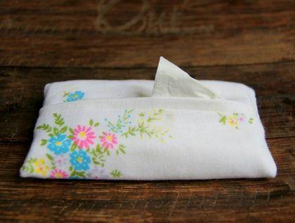 Upcycled Vintage Hankie Pocket / Purse / Travel Tissue Holder / Cover / Soft Case