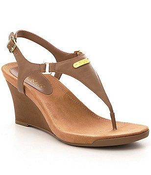 Lauren Ralph Lauren Nikki Leather Wedge Sandals