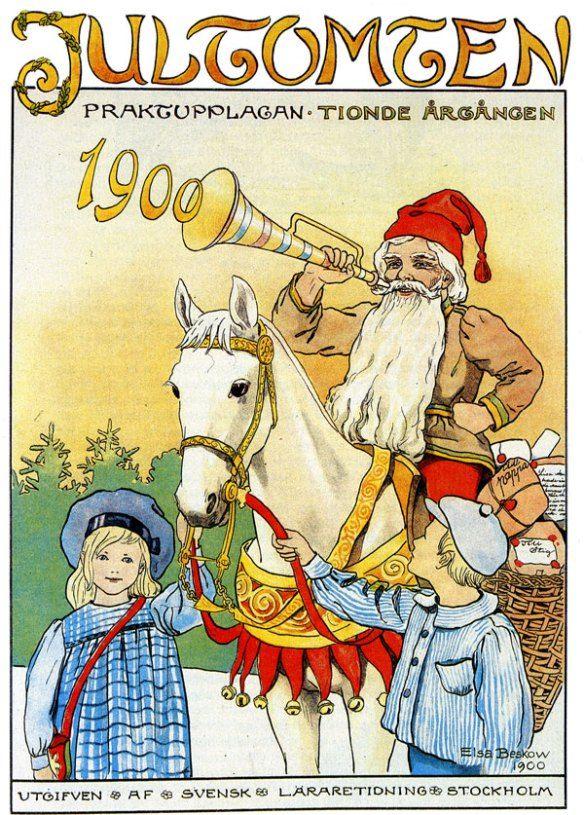 """1894 illustrerade Elsa Beskow för första gången i barntidningen Jultomten. Det var en svartvit teckning till visan """"Lilla vedhuggaren."""""""