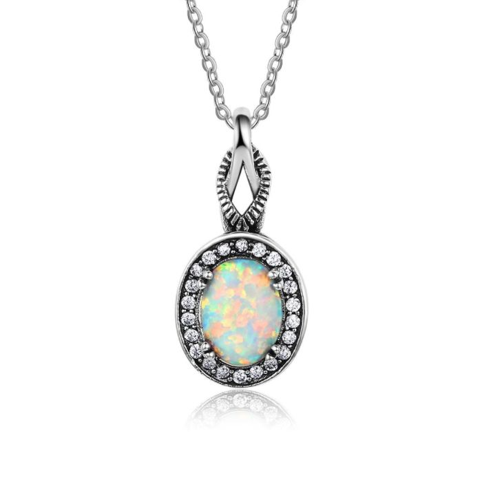 Post Included Aus Wide and to most international countries! >>> Vintage Style Opal Necklace - 925 Sterling Silver