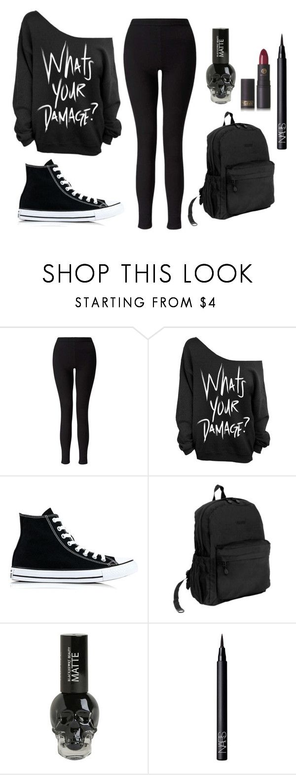 """""""Black"""" by electraz on Polyvore featuring Miss Selfridge, Converse, JWorld, NARS Cosmetics and Lipstick Queen"""