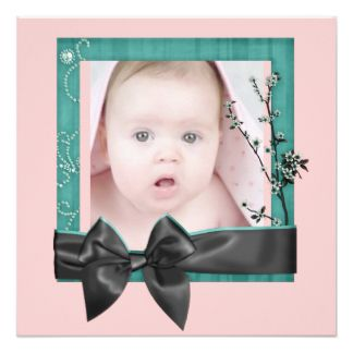 Sophisticated Pink Ribbon Photo Birth Announcement