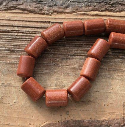 Для украшений ручной работы. Ярмарка Мастеров - ручная работа. Купить Авантюрин 14 мм цилиндр коричневый бусины для украшений. Handmade.