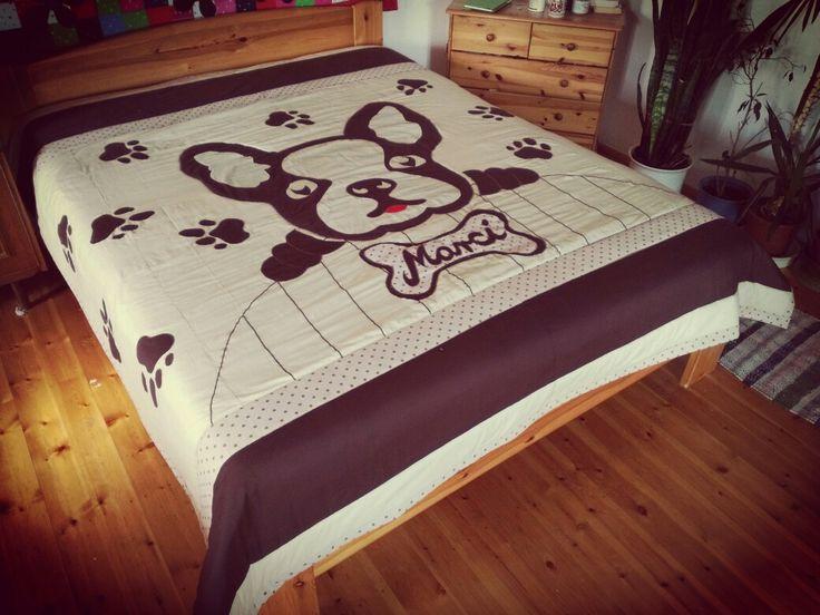 Francia bulldog mintás ágytakaró