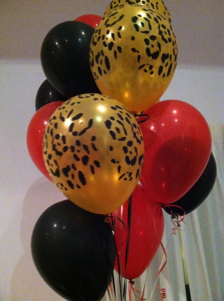 #BabyShower #Balloons #Cheetah #Print #Red #Black #Gold