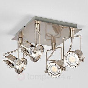 LED-plafondlamp Agidio, 4-l. gesatineerd nikkel