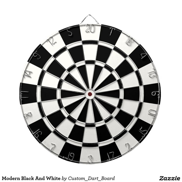 Modern Black And White Dartboard With Darts