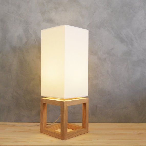 Wooden Table Lamp With White Shade Suitable For Bedroom