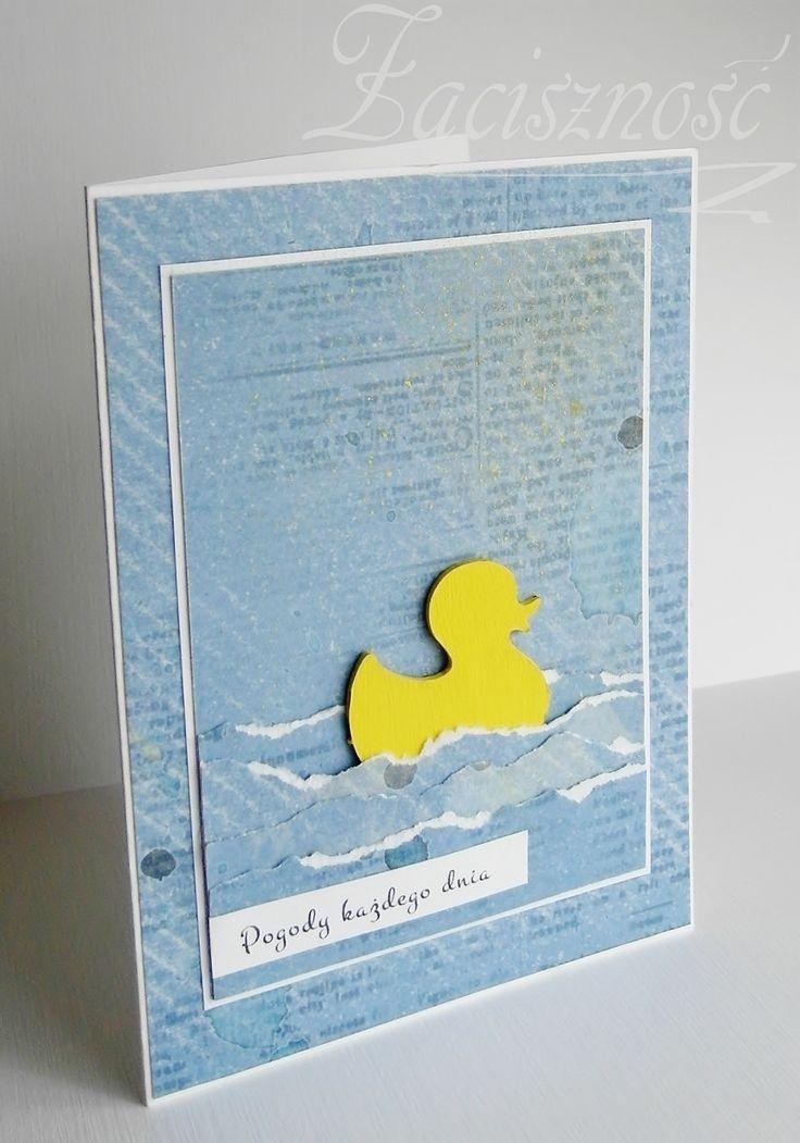 Ręcznie robiona kartka z kaczuchą/ Handmade card with duck