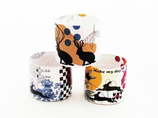 rabbits and dots  Heidi Hirengen ceramics decals pottery