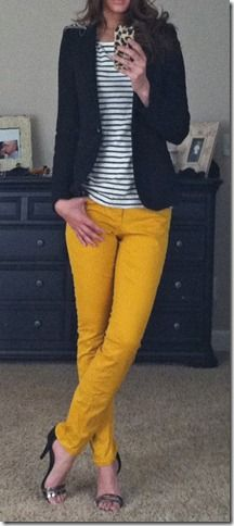 weekend attire | blazer, striped top, yellow skinnies {sequins & stilettos}