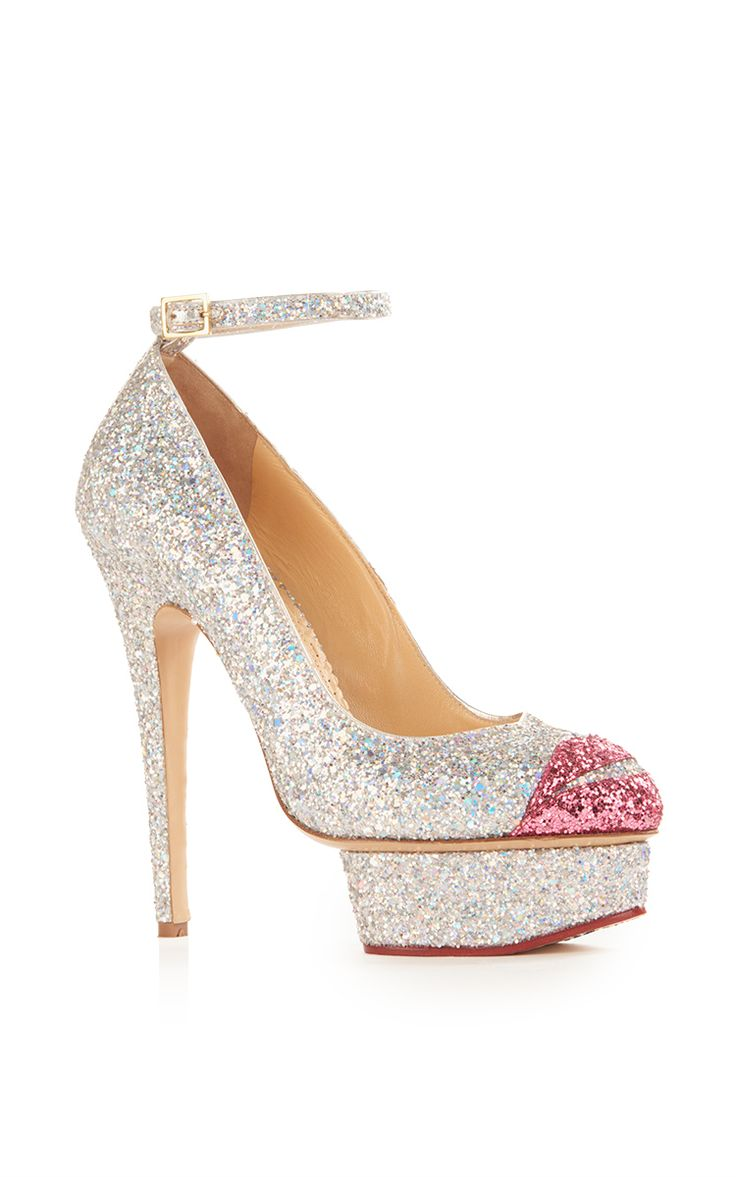 This **Charlotte Olympia** Kiss Me Dolores! Ankle Strap Heel is rendered in silver  glitter fabric, and features a matching stiletto heel and front platform,  ...