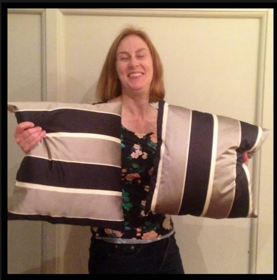 Look at some of Deb's fantastic cushions. Don't they look fab. Deb started with some pillow cases, then she sewed some European style pillow cases. A boomerang shaped pillow case next, and now she is having fun with cushions. Well done, it's always fun working in home dec. cheers Fee, mysewingclub.com
