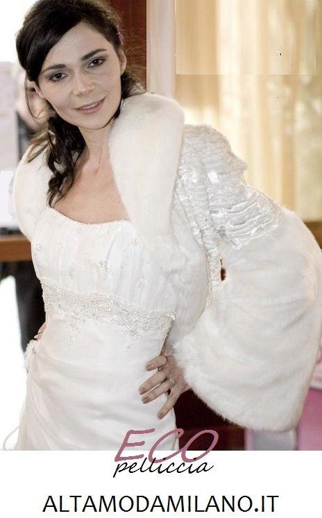 Abiti da sposa 2014 invernali la giacca in pelliccia sintetica made in ALTAMODAMILANO.IT