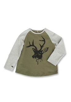 Peekaboo Beans - Stag You're It Tee - Your Bean will love the Stag on this baseball style tee with contrast raglan sleeves. Independent dressing is made easier with the Bean favourite thumbholes! Available in sizes 1-8 www.peekaboobeans.com/jennym