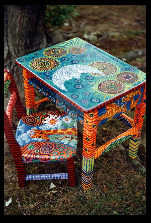 Vintage elementary school desk and chair, painted with visionary images. This design and many others are available from my website Reincarnations Painted Furniture. (may be used for clubs/features ...