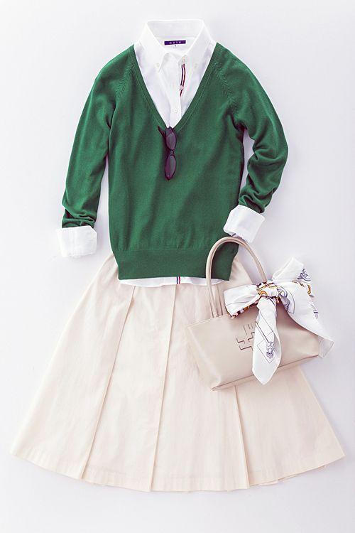 レディース白シャツ・スカートと合わせてキュートな着こなしで週末のデートはこんな感じ!?⇒ http://ozie.jp/1WwL2xu
