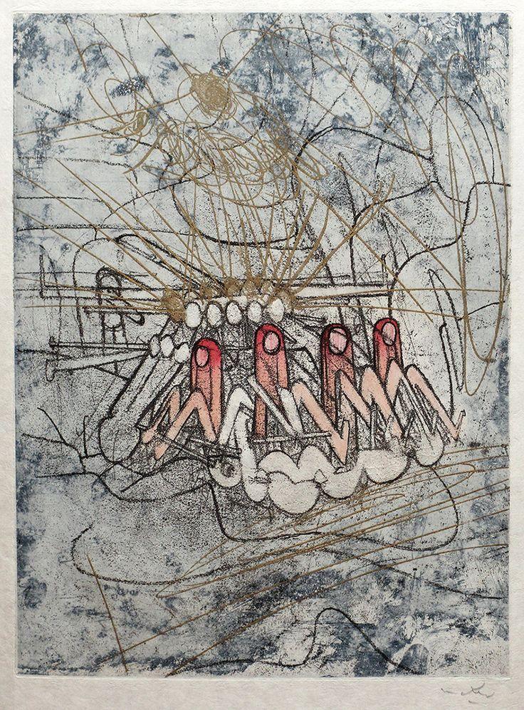 ROBERTO MATTA Estampa de la edición: Les Damnations (Las Condenaciones) Ediciones Georges Visat, París, 1966, ejemplar 20/75, 11 estampas, poemas de Joyce Mansour. Aguafuerte y aguatinta.