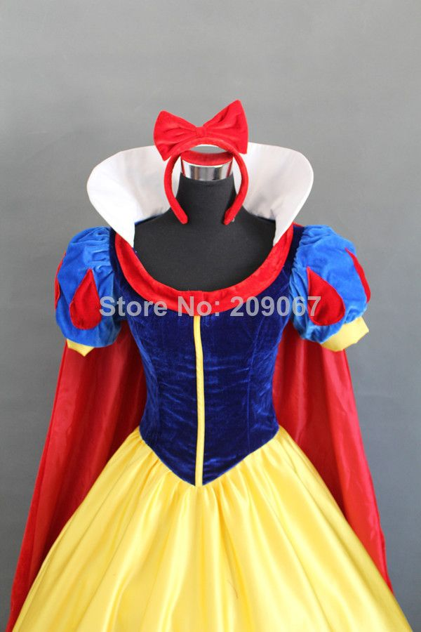 Top Quality Snow White Princess Cosplay Dress Have Cape Halloween Party Women Costume For Child Or Adult Custom Any Size US $126.80