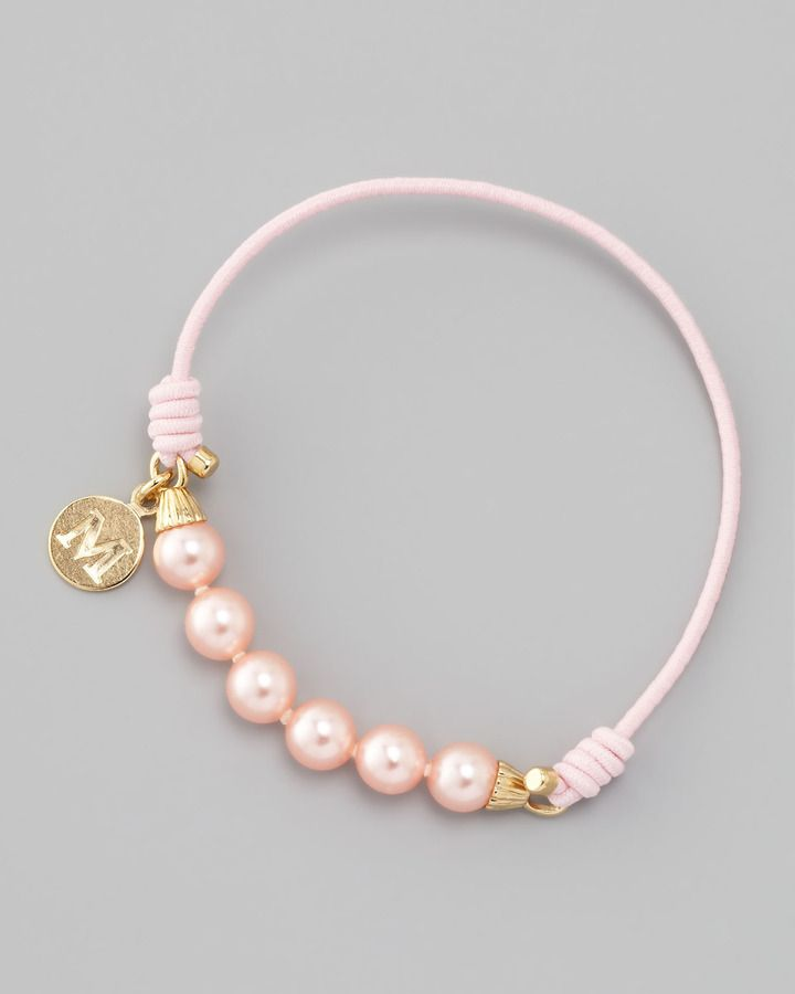 Majorica Elastic Pearl Bracelet, Pink/Gold $40.00 thestylecure.com