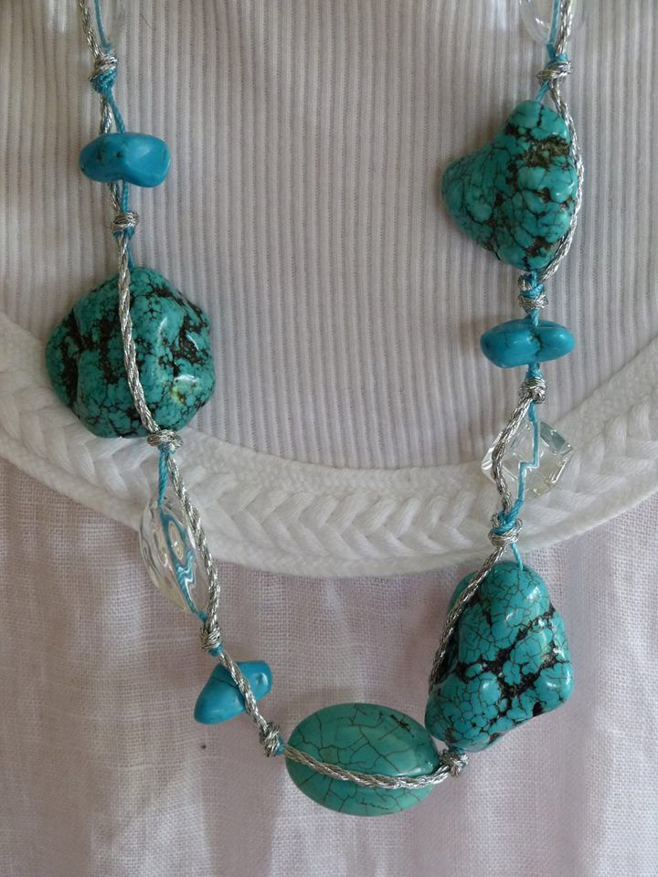 Aqua and clear stones on a long silver chain