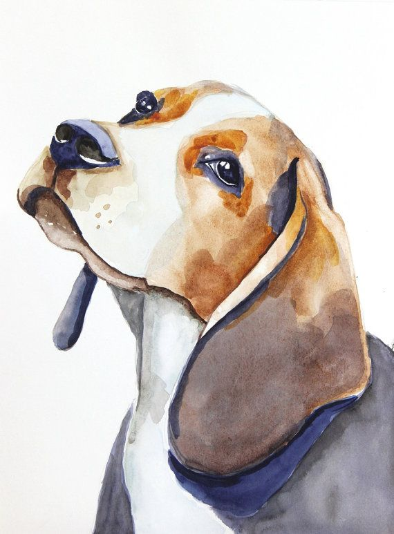 beagle watercolor clipart, dog watercolor print, printing at home, beagle art 24x32cm (9,4×12,6in), beagle wall art, sublimation PNG