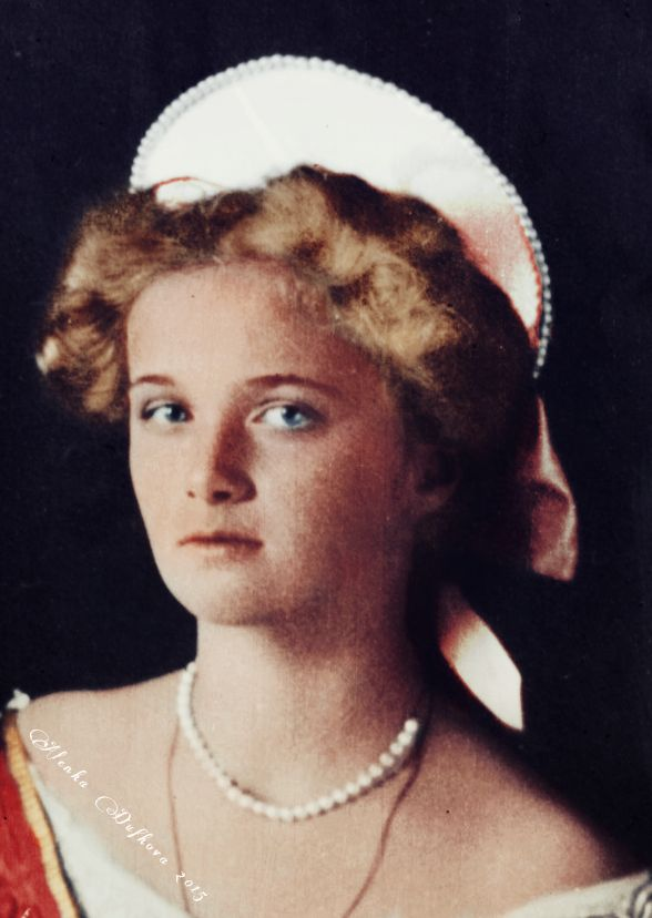 """""""Grand Duchess Olga Nikolaevna of Russia in 1911 (originally black and white image, digitally coloured by me.)"""" """"A huge, fat, bonny baby, Olga turned into rather a plain, serious little girl. But then, at 15, she suddenly became pretty. She was not a..."""