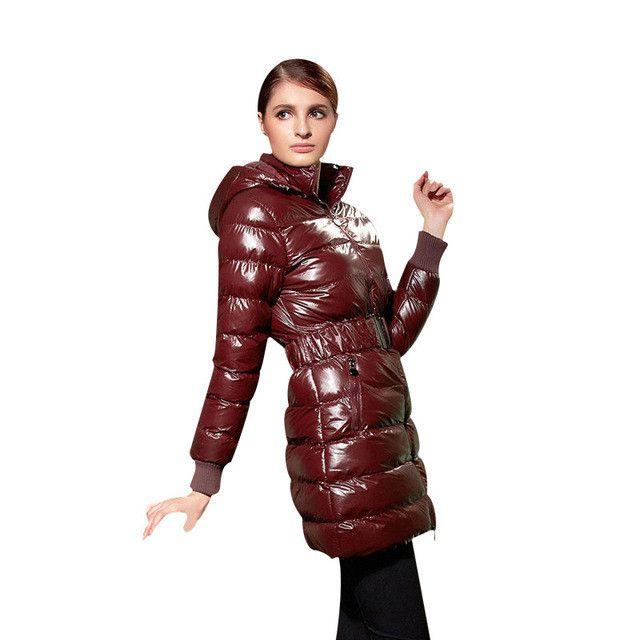 COUTUDI 2016 Long Women Clothing Winter Warm Jackets Shiny Solid Black Parkas Cotton Coats Female Waterproof Belt Parka Coats