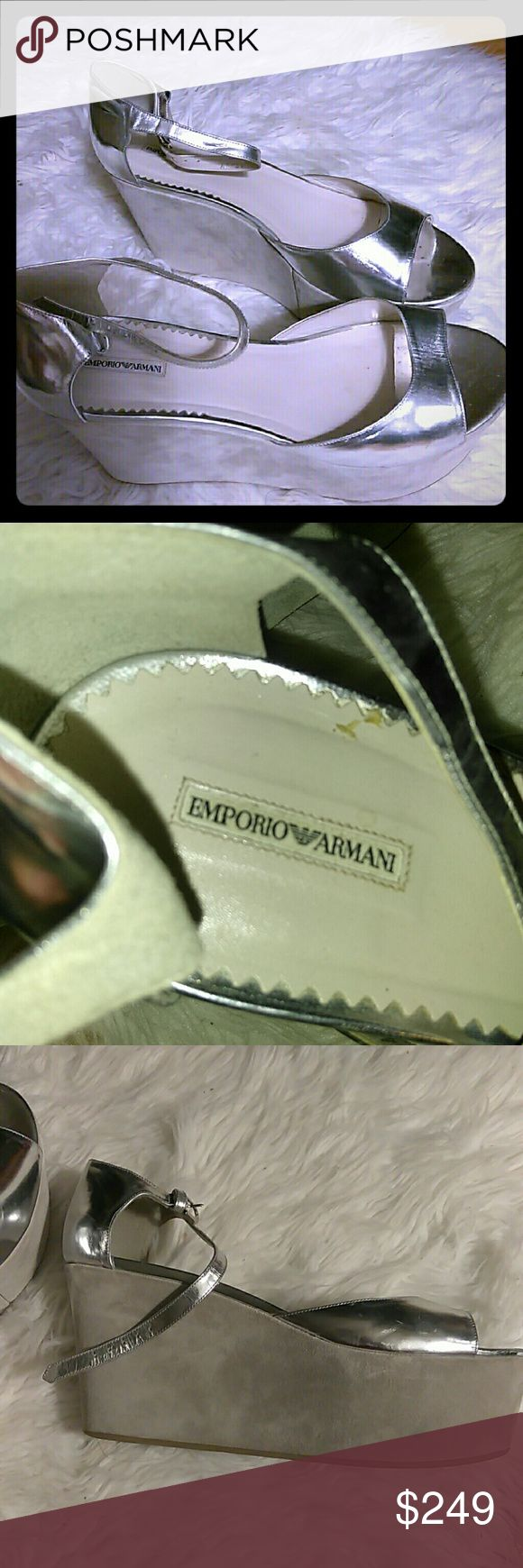 "Emperio Armani silver wedge sandals sz 40 Barely worn, maybe once or twice. The wedge is 2"" at smallest and +4"" @ heel. Suede wedge in grey and patent silver on the sandals. Emporio Armani Shoes Wedges"