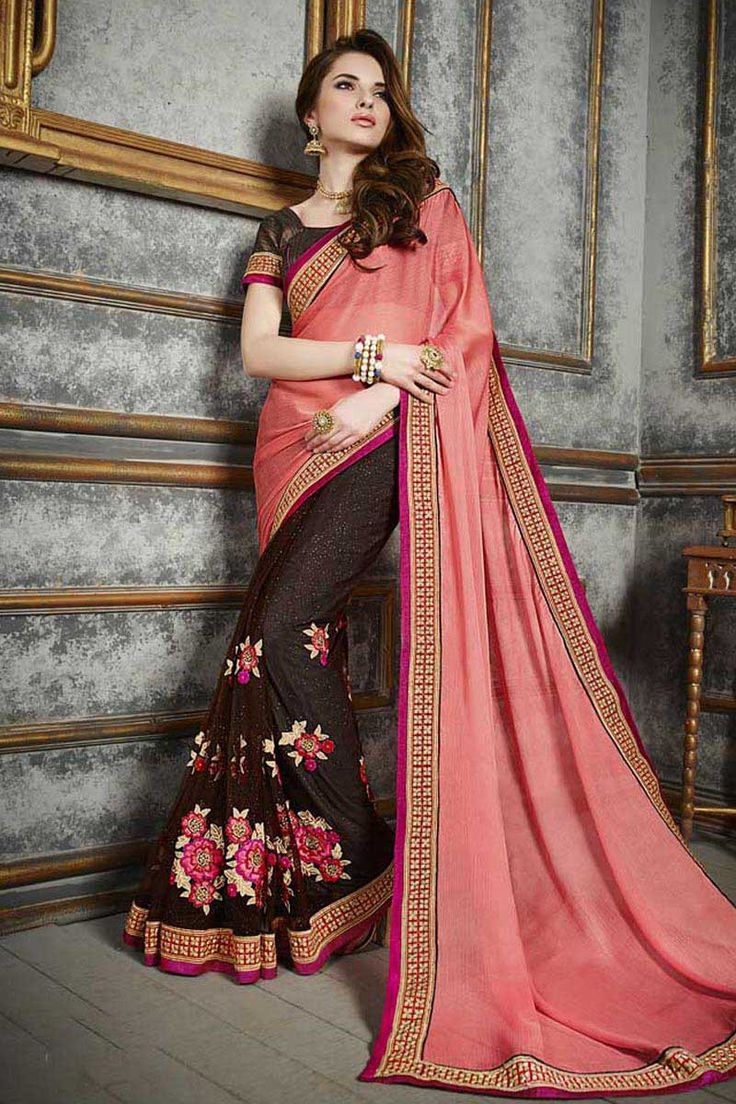 Buy Pink Chiffon Designer Saree Online in low price at Variation. Huge collection of Designer Sarees for Wedding. #designer #designersarees #sarees #onlineshopping #latest #lowprice #variation. To see more - https://www.variation.in/collections/designer-sarees.