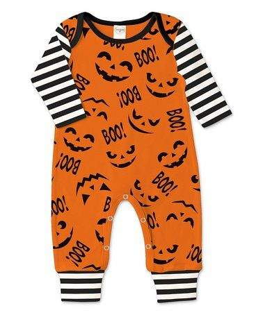 Black & Orange Stripe-Accent Jack-O'-Lantern Playsuit - Infant #zulily #zulilyfinds