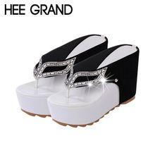 Hee grand marca flip flop plataforma rhinestone zapatos de tacón de cuña inferior grueso patchwork mujer summer sandals xwz1953(China (Mainland))