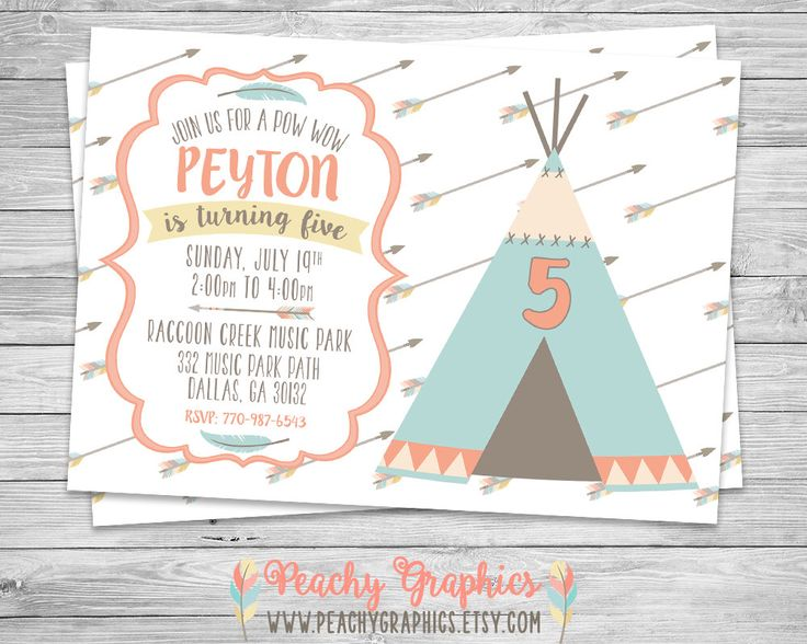 Tribal TeePee Birthday Invitation - DIY Printable Birthday Party Invite - Girl Tribal Pow Wow Aztec Tee Pee Camping Brave by PeachyGraphics on Etsy https://www.etsy.com/listing/237592375/tribal-teepee-birthday-invitation-diy
