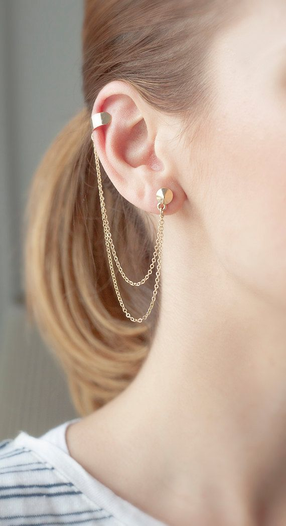 Double chain ear cuff jewelry, Simple gold chain ear cuff - Studded earring