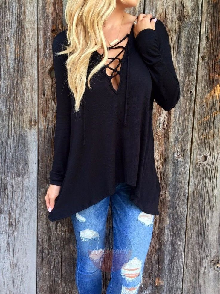 Fashion Women Criss Cross Tops Casual Lace Tees Poly V Neck Long Sleeve Tshirt | eBay