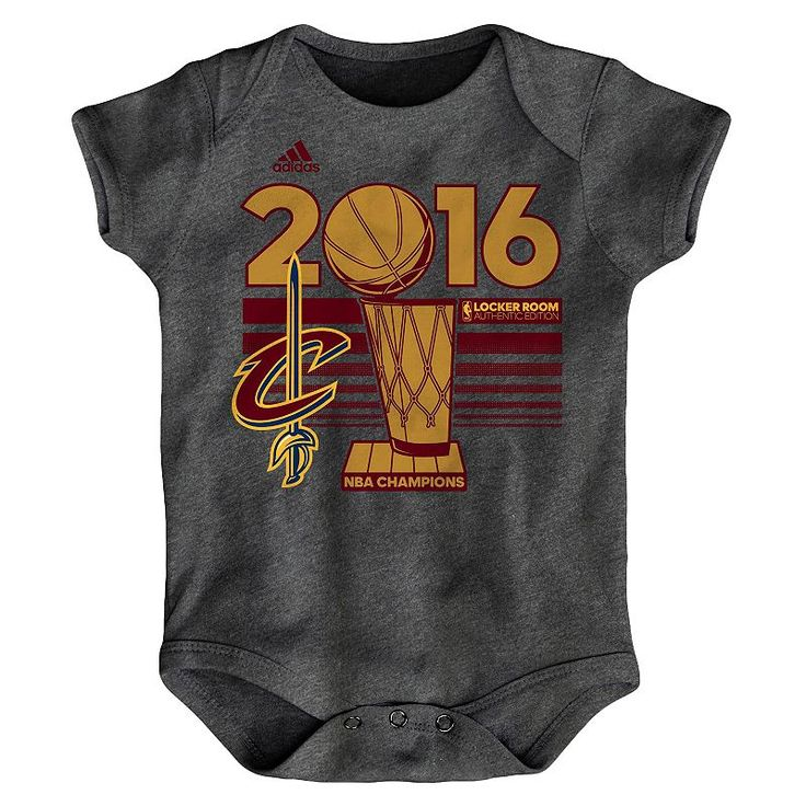 Baby Adidas Cleveland Cavaliers 2016 NBA Champions Bodysuit, Grey