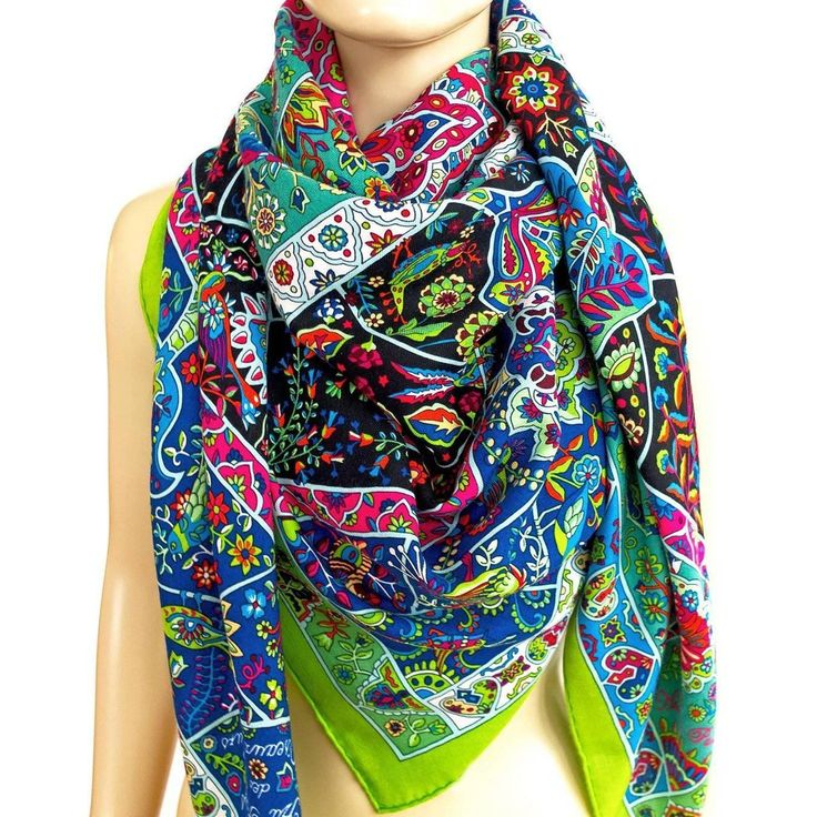 Hermes Au Pays des Oiseaux Fleurs Cashmere Silk Shawl Scarf GM Fluo Green | From a collection of rare vintage scarves at https://www.1stdibs.com/fashion/accessories/scarves/