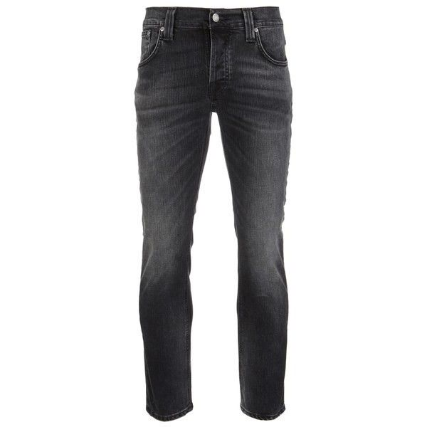 Nudie Jeans Men's Grim Tim Straight/Slim Waist Slim Leg Jeans - Black... ($105) ❤ liked on Polyvore featuring men's fashion, men's clothing, men's jeans, men, jeans, pants, black, bottoms, mens leather jeans and mens jeans
