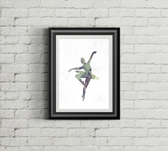 Ballerina in grey and green polygon on white background- decorative digital printable wall art - ready to frame  You can use it for decorating the walls of your home, restaurant, office, nursery, school or any kind of interior space. #ballerina #dancer #wallart #homedecor #downloadable #printableart #polygonart