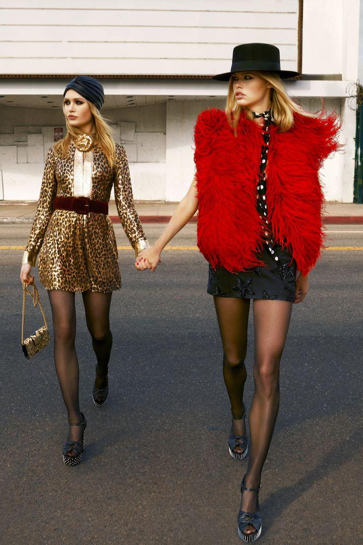 Left: Saint Laurent by Hedi Slimane dress,price upon request, turban $2,305, bag $1,690, and shoes, $1,295, 212-980-2970; Oscar de la Renta belt, $1,490, 212-288-5810; Falke tights, similar styles available at falke.com. Right: Saint Laurent by Hedi Slimane vest and dress, prices upon request, hat $990, scarf, $325, belt, $690, and shoes, $1,295, 212-980-2970; Wolford Tights, similar styles available at wolford.com. - HarpersBAZAAR.com