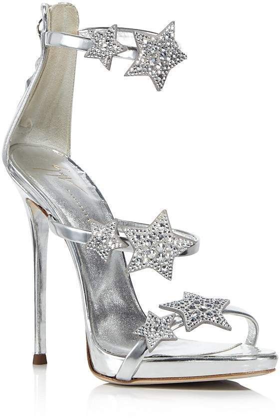 Ad: Giuseppe Zanotti Women's Strappy Leather & Crystal Embellished Star High Heel Sandals, wedding shoes, wedding heels, brides shoes, shoes for bride, silver wedding shoes, silver wedding heels, sparkle wedding shoes, #weddingshoes #afflink #giuseppezanottiheelswedding #giuseppezanottiheelssilver #giuseppezanottiheelssandals