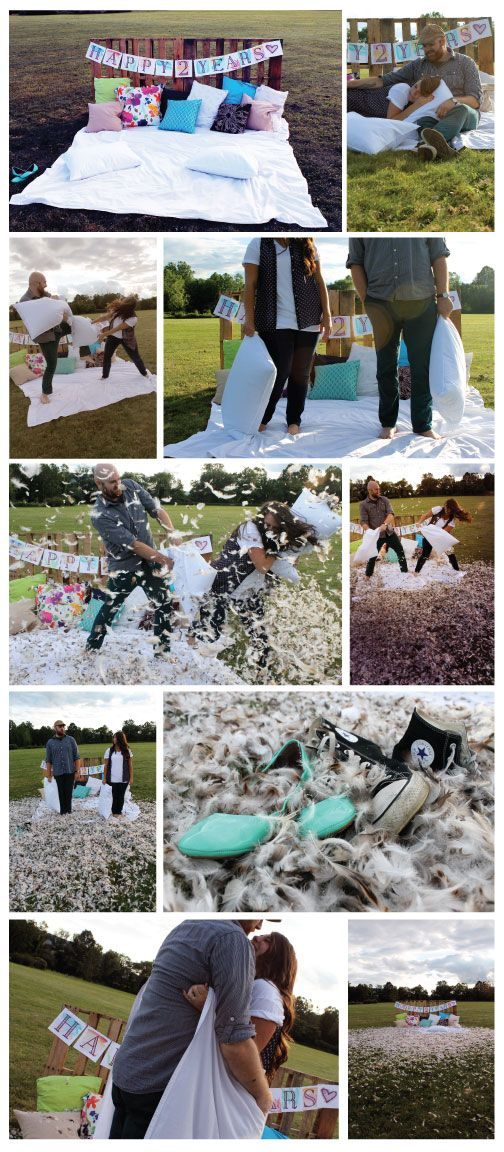 2nd Anniversary Photo Shoot: Pillow Fight! Cotton is the traditional 2nd year anniversary gift so we had a pillow fight with cotton pillow cases and cotton sheets! Photo cred to @Lee Semel Pfeil  #anniversary #love #photoshoot