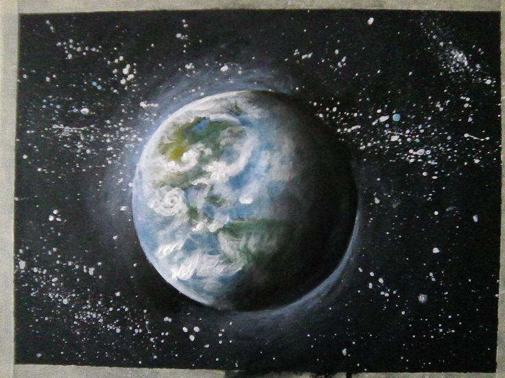 Föld#Earth#akril#acrilyc#fotókarton#black#cardboard#18x24cm