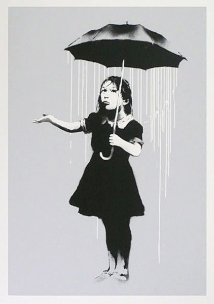 Banksy Nola Signed and numbered Edition of 289 CREATED 2008 SIZE 22x30 umbrella rain
