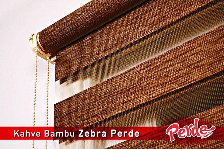 Kahve Bambu Zebra Perde  Bambu zebra perdeler ince şeritleri ve bambu görüntüsü ile kullanıldığı ortama şık ve zengin bir hava katar. #kahve #bambu #zebra #perde