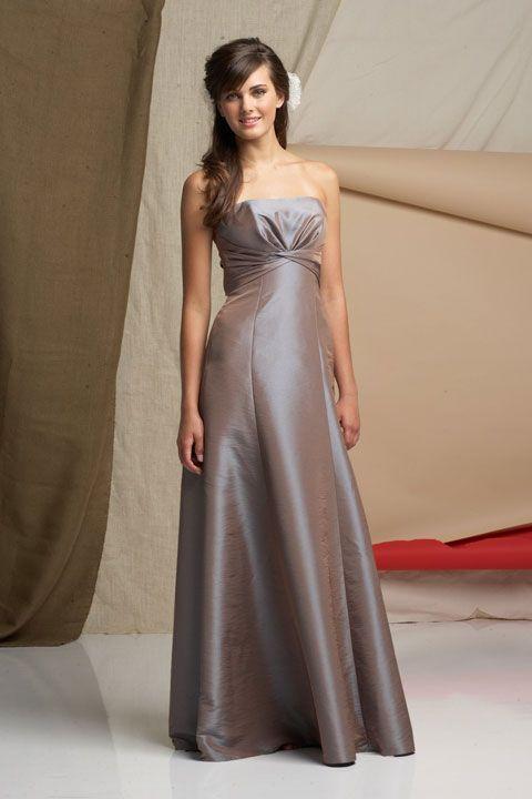Strapless A-line with ruffle embellishment taffeta bridesmaid dress. I love the color.