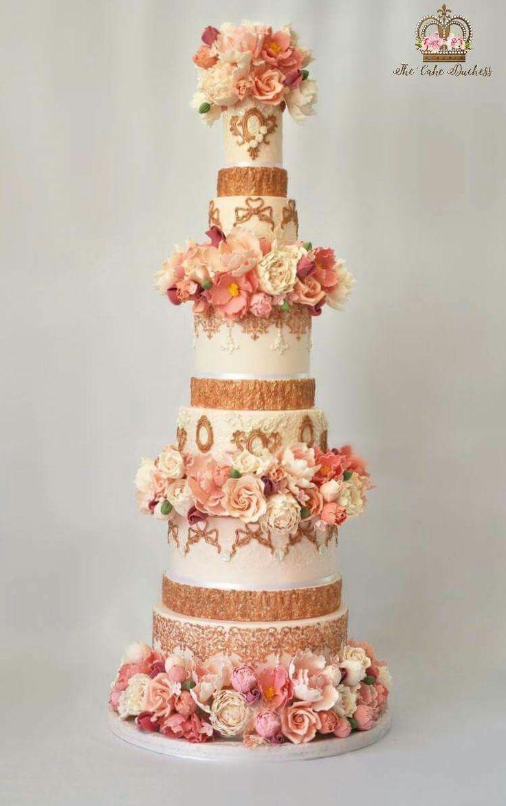 Blush Rosegold Wedding Cake
