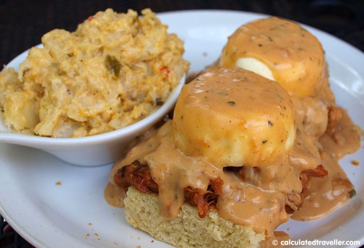 BBQ Benedict from Lowcountry Backyard Restaurant in Hilton Head Island SC. Review by Calculated Traveller